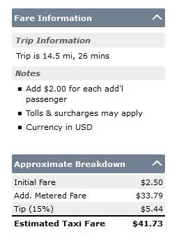estimated taxi fare